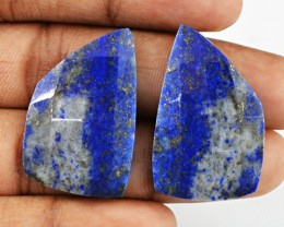 Genuine 36.50 Cts Blue Lapis Lazuli Checkered Cut Pair
