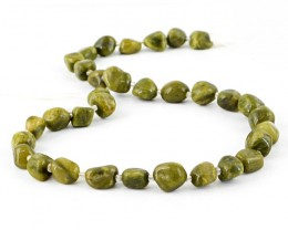 Genuine 190.00 Cts Green Garnet Beads 15 Inches Strand