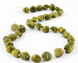 Genuine 195.00 Cts Green Garnet Beads 14 Inches Strand