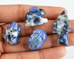 Genuine 132.15 Cts Blue Sodalite Carved Animal Lot
