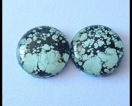 30Ct New Design Turquoise And Quartz Intarisia Cabochon Pair