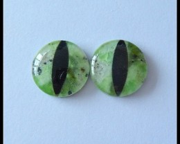 16Ct Natural Serpentine,Quartz,Obsidian Intarsia Gemstone Cabochon Pair(C00