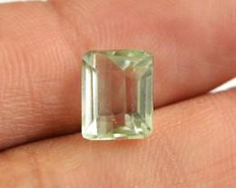 Genuine 3.00 Cts Untreated Faceted Prasiolite Gemstone