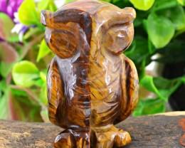 Genuine 303.75 Cts Golden Tiger Eye Carved Owl