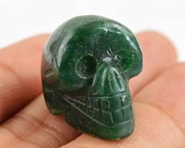 Genuine 53.50 Cts Hand Carved Green Jade Skull
