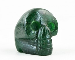 Genuine 58.00 Cts Hand Carved Green Jade Skull