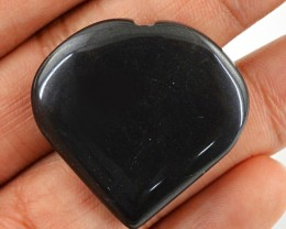 Genuine 60.50 Cts Heart Shaped Black Onyx
