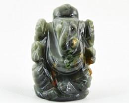 Genuine 39.50 Cts Hand Carved Grey Jasper Ganesha