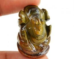 Genuine 55.50 Cts Golden Tiger Eye Hand Carved Ganesha