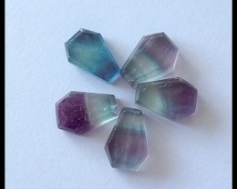 5PCS Natural Rainbow Fluorite Gemstone Cabochons,22ct