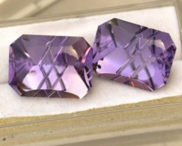 21.91 Carat Matched Pair of Fantastic Fancy Laser Cut Amethysts