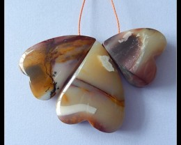 85.5Ct Natural Mookaite Jasper Heart Bead Strand For Necklace Design
