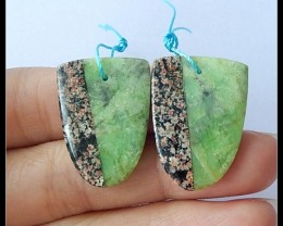 29Ct Natural Snow Obsidian,Serpentine Intarsia Earring Beads(A1858)