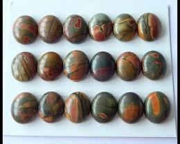 18 PCS Natural Multi Color Picasso Jasper Cabochons Parcel,12x10x4mm