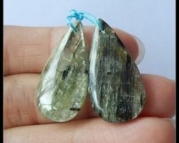 30.5Ct Natural Green Kyanite Gemstone Earring Beads