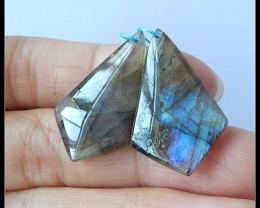24Ct Natural Labradorite Gemstone Earring Beads(A1886)
