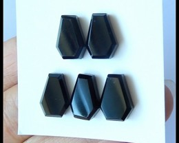 5PCS Natural Obsidian Gemstone Cabochons,15.5ct