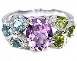Amethyst , Peridot, Topaz Set,  Earrings and Ring,  In Silver (white gold p