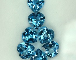 Cute Heart 8.49 Cts Natural Blue Topaz 7 mm Heart 7 Pcs Parcel