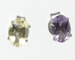 Sterling Silver Amethyst and Citrine Stud Earrings
