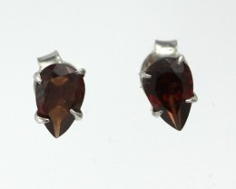 Sterling Silver stud Earring with Pear Shape Garnet