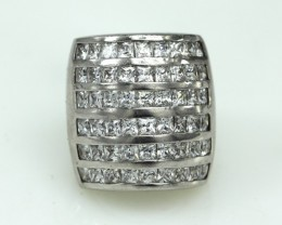 Sterling Silver Ladies Cocktail Ring with 54 Princess Cut CZ