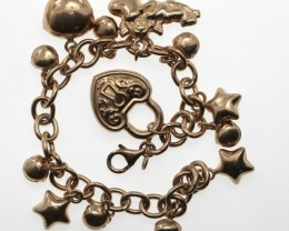Sterling Silver Antique Style Charm Bracelet