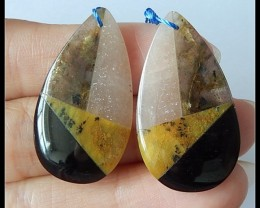34Ct Labradorite,Yellow Opal,Sunstone ,Obsidian Intarsia Earrings B144