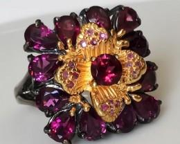 51.00ct Rapturous Raspberry Rhodolite Garnet Ring Size 8 Black Rhodium