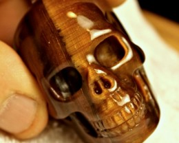 511 Tcw. Tiger Eye Skull Carving - Weird