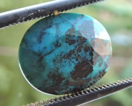 4.35ct CHRYSOCOLLA OVAL FACETED SPECIMEN GEMSTONE FROM MADAGASCAR
