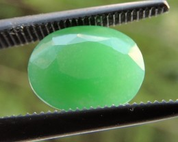 1.80ct CHRYSOPRASE OVAL FACETED SPECIMEN GEMSTONE FROM AFRICA