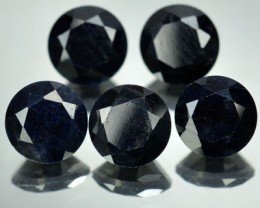 8.65 Cts Natural Black Sapphire 7 mm Round 5 Pcs African Gem
