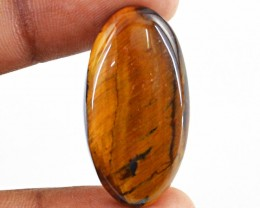 Genuine 27.45 Cts Oval Shaped Golden Tiger Eye Cab