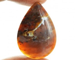 Genuine 25.00 Cts Untreated Dendrite Jasper Pear Shaped Cab