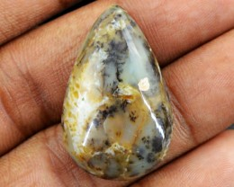 Genuine 25.00 Cts Untreated Pear Shaped Dendrite Jasper Cab