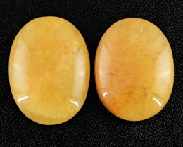 Genuine 97.05 Cts Oval Shaped Yellow Aventurine Cab Pair