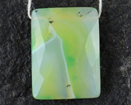 Genuine 28.80 Cts Untreated Checkered Cut Green Onyx Cab