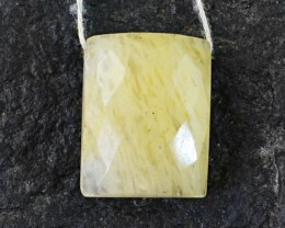 Genuine 26.70 Cts Checkered Cur Yellow Onyx Cab