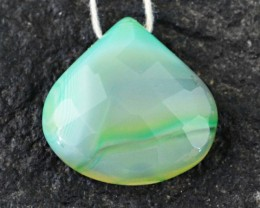 Genuine 29.35 Cts Drilled Checkered Cut Green Onyx Cab