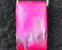 Genuine 37.15 Cts Checkered Cut Drilled Pink Onyx Untreated Cab