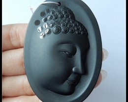 167.5Ct Natural Obsidian Buddha Carved Pendant Bead(D0065)