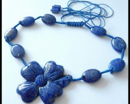 204.5Ct Natural Lapis Lazuli Gemstone Necklace, Adjustable Necklace,Lapis L