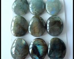 9 PCS Natural Labradorite Gemstone Cabochons,141.5CT