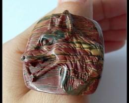 Handmade Picasso Jasper Gemstone Ring,Wolf Ring,Inner -21mm