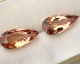 2.68 Matched Pair of Fine Pear Cut Peachy Apricot Topaz