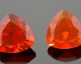 1.73 ct MEXICAN FIRE OPAL PAIR - MASTER CUT!  LOTS OF FIRE!