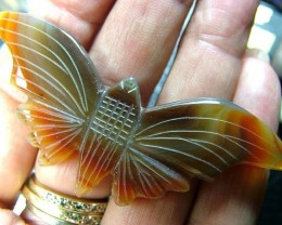 AGATE BUTTERFLY CARVING 61.5 CT LT-708
