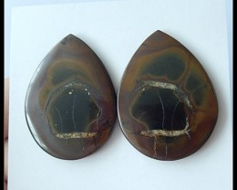 60Ct Natural Septarian Gemstone Cabochon Pair