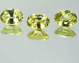 2.16 Cts Natural Lemon Green Chrysoberyl Oval CUt 3 Pcs Srilanka Gem